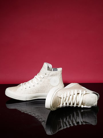 Converse Men Beige  Chuck Taylor All Star II Rubber High-Top Sneakers at myntra