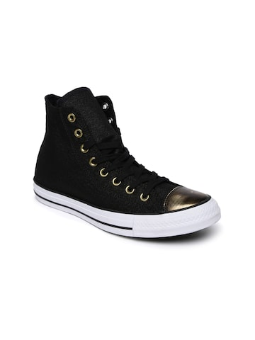 Converse Black Solid Mid-Top Sneakers at myntra