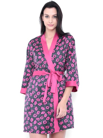PrettySecrets Black & Pink Satin Chemise Nightdress with Robe PS0916HLTRSCHC02 at myntra