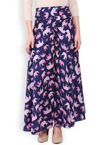 Trend Arrest Women Blue Printed Palazzo Trousers at myntra