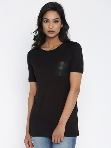 ONLY Women Black T-Shirt at myntra
