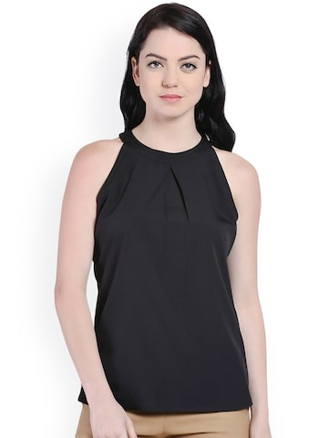 Style Quotient Women Black Solid Regular Top at myntra