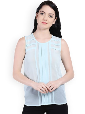 Style Quotient Women Blue Solid Top at myntra