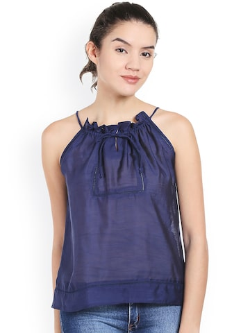 Style Quotient Women Navy Solid Top at myntra