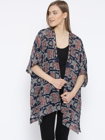 Vero Moda Navy Printed Semi-Sheer Longline Shrug at myntra