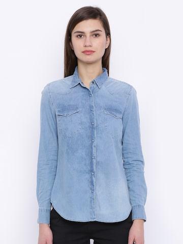 Tokyo Talkies Women Blue Slim Fit Solid Denim Casual Shirt at myntra