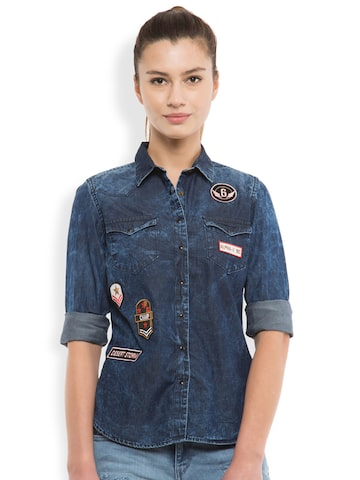 Tokyo Talkies Women Navy Classic Fit Denim Casual Shirt at myntra