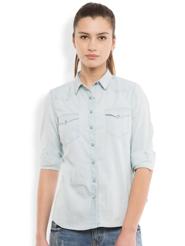 Tokyo Talkies Women Blue Classic Fit Denim Casual Shirt at myntra