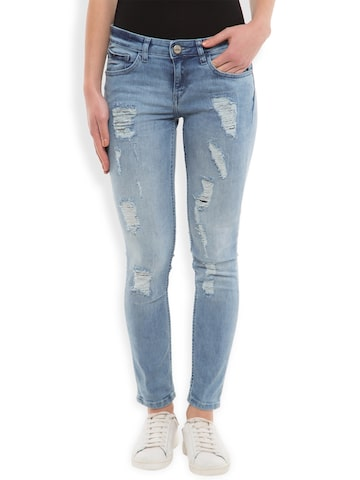 Tokyo Talkies Women Blue Super Skinny Fit Low-Rise Highly Distressed Jeans at myntra