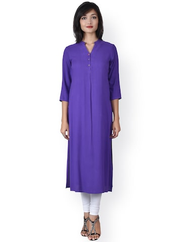 Juniper Women Purple Self-Design Straight Kurta at myntra