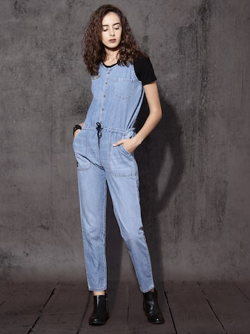 Roadster Blue Denim Jumpsuit at myntra