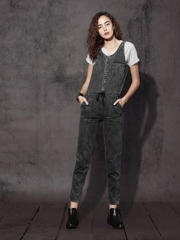 Roadster Black Denim Jumpsuit at myntra