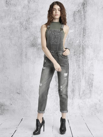 Roadster Charcoal Grey Washed Denim Dungarees at myntra