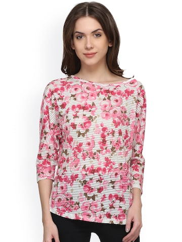 Raindrops Women White & Pink Floral Print Top at myntra