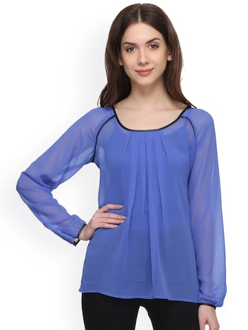 Raindrops Women Blue Solid Regular Sheer Top at myntra