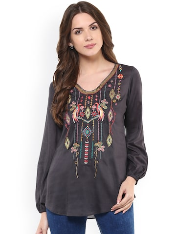 Taurus Women Grey Solid  Top at myntra