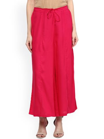 Ayaany Women Pink Relaxed Fit Palazzo Trousers at myntra