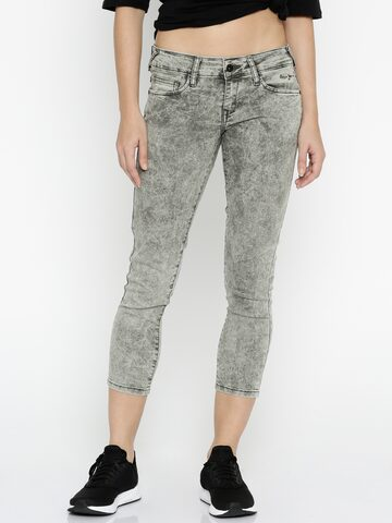 Pepe Jeans Women Grey Low-Rise Clean Look Cropped Jegging Fit Jeans at myntra