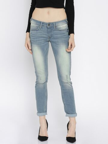 Pepe Jeans Women Blue Regular Fit Mid-Rise Jeans at myntra
