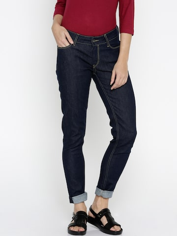 Pepe Jeans Women Blue Lola Regular Fit Mid Rise Clean Look Jeans at myntra