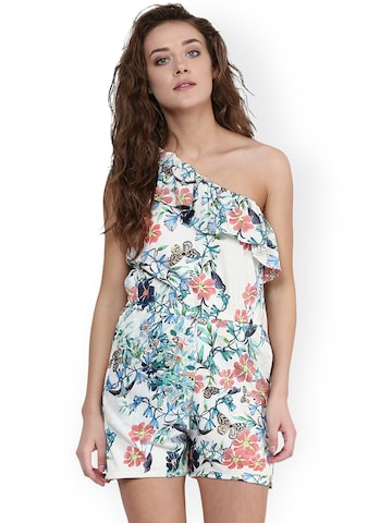 Miss Chase White Floral Print Playsuit at myntra