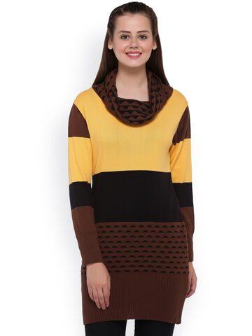 Club York Brown & Yellow Colourblock Longline Sweater at myntra