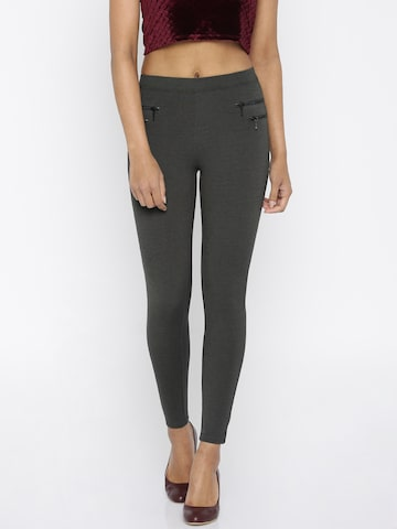 ONLY Charcoal Grey Treggings at myntra