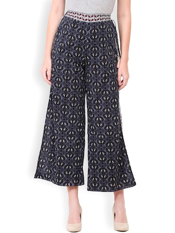 Paprika Women Navy Printed Loose Fit Palazzo Trousers at myntra