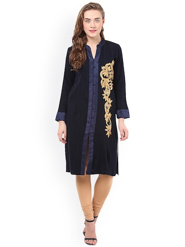 Duke Women Navy Solid Straight Kurta at myntra