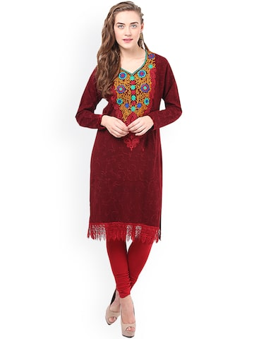 Duke Women Maroon Embroidered Straight Kurta at myntra