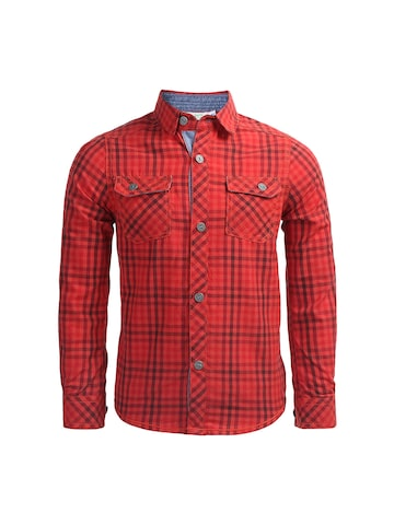 ShopperTree Boys Red Regular Fit Checked Casual Shirt at myntra