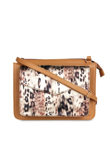 Berrypeckers Tan Brown & Cream-Coloured Animal Print Sling Bag Berrypeckers Handbags at myntra