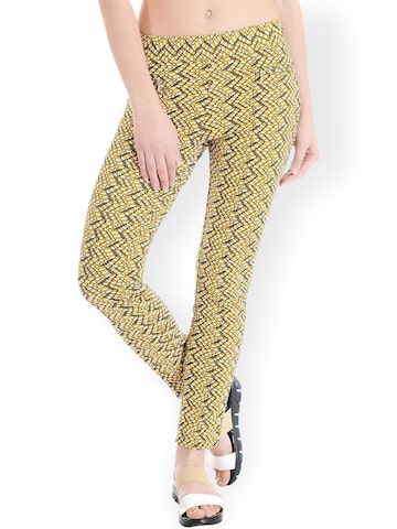 Latin Quarters Mustard Yellow Self-Design Trousers at myntra