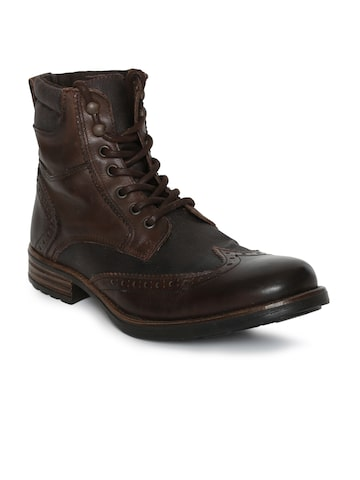 Steve Madden Men Brown Solid Leather High-Top Flat Boots Steve Madden Casual Shoes at myntra
