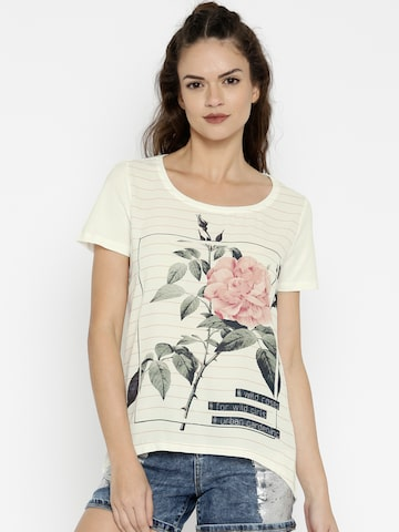 ONLY Women Off-White Floral Print Round Neck T-shirt at myntra