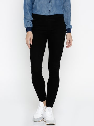 ONLY Women Black Jeggings at myntra