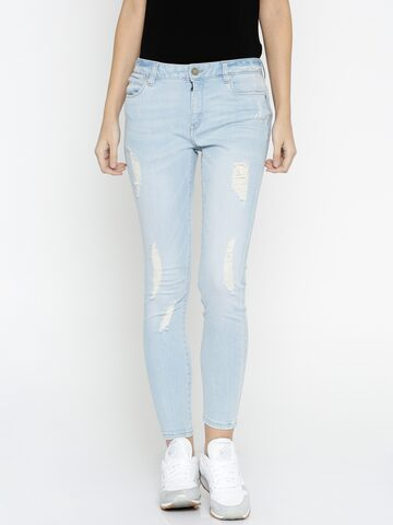 ONLY Women Blue Skinny Fit Low Rise Mildly Distressed Jeans at myntra