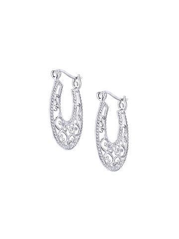 Peora Sterling Silver Rhodium-Plated Oval Filigree Hoop Earrings at myntra