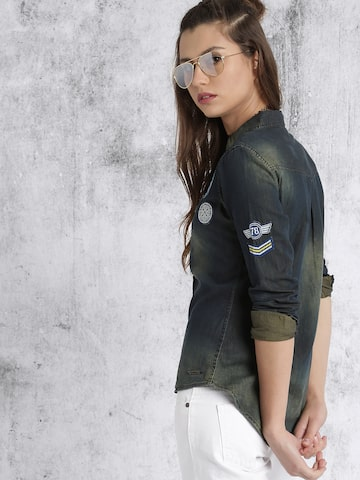 Roadster Women Green Denim Faded Casual Shirt at myntra