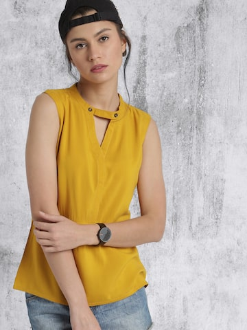 Roadster Women Mustard Yellow Solid Top at myntra