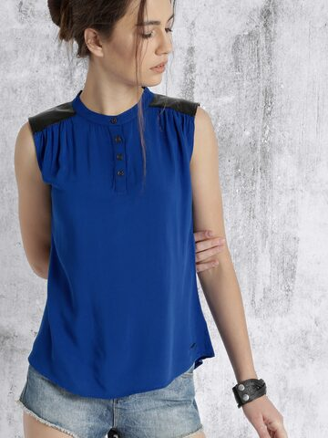 Roadster Women Blue Solid Sleeveless Top at myntra