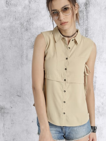 Roadster Women Beige Solid Shirt-Style Top at myntra