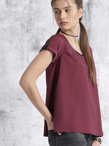 Roadster Maroon Solid Top at myntra