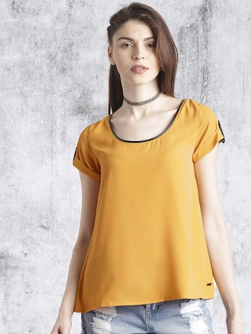 Roadster Mustard Yellow A-Line Top at myntra