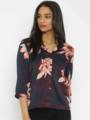 Vero Moda Women Navy Floral Print Casual Shirt at myntra