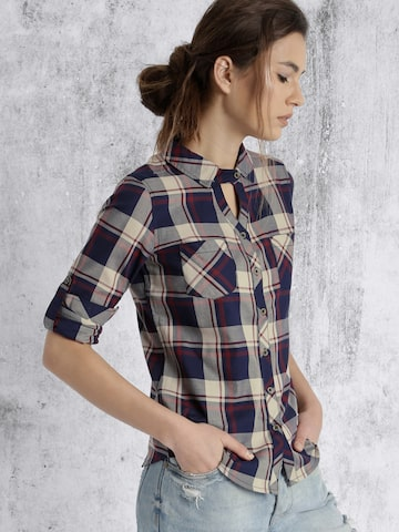 Roadster Women Navy & Beige Checked Casual Shirt at myntra