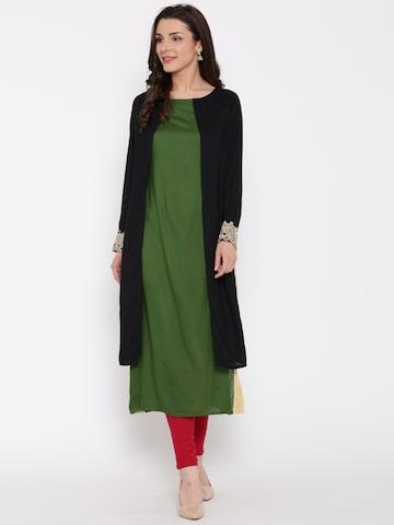 Jashn Black & Green Solid Straight Kurta at myntra