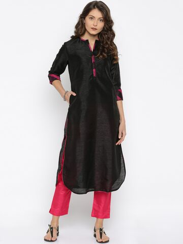 Jashn Women Black Solid Straight Kurta at myntra