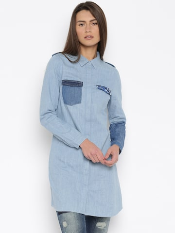 Vero Moda Women Blue Solid Casual Shirt at myntra