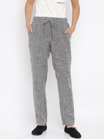 Vero Moda Women Charcoal Grey Self-Design Trousers at myntra